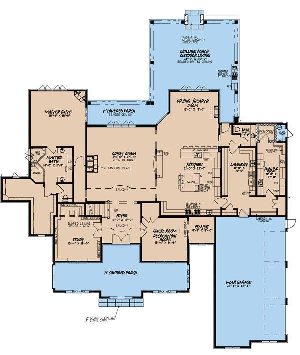 Mediterranean Floor Plan - Main Floor Plan Plan #923-135
