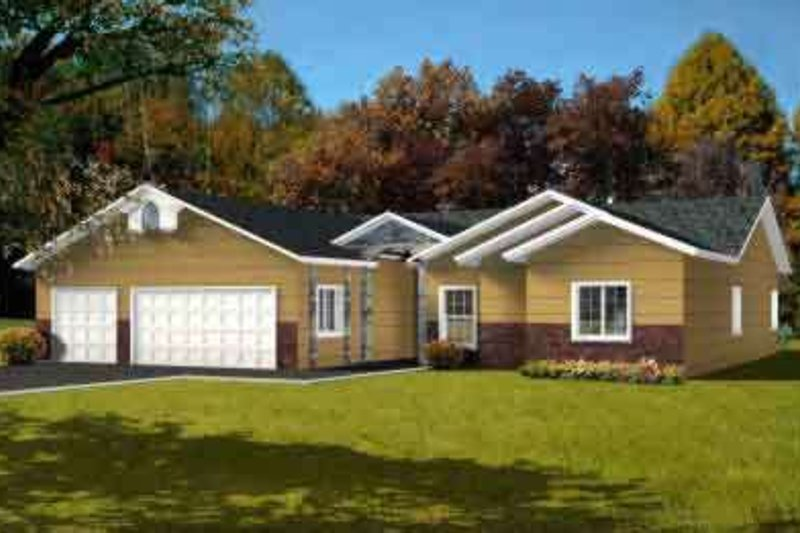 European Style House Plan - 4 Beds 3 Baths 2085 Sq/Ft Plan #1-1425 Exterior - Front Elevation