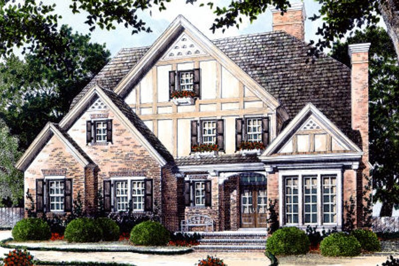 House Design - Tudor Exterior - Front Elevation Plan #429-14
