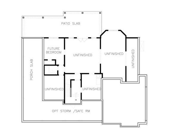 Farmhouse Floor Plan - Lower Floor Plan Plan #54-379
