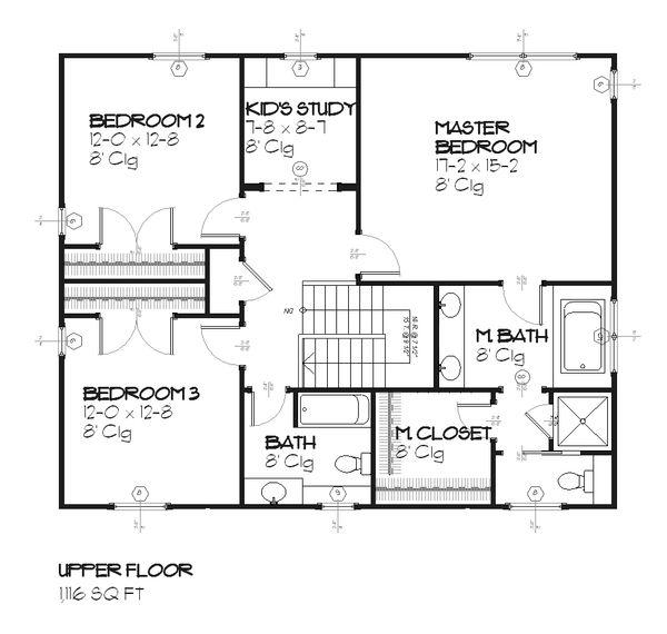 Craftsman Floor Plan - Upper Floor Plan Plan #901-28