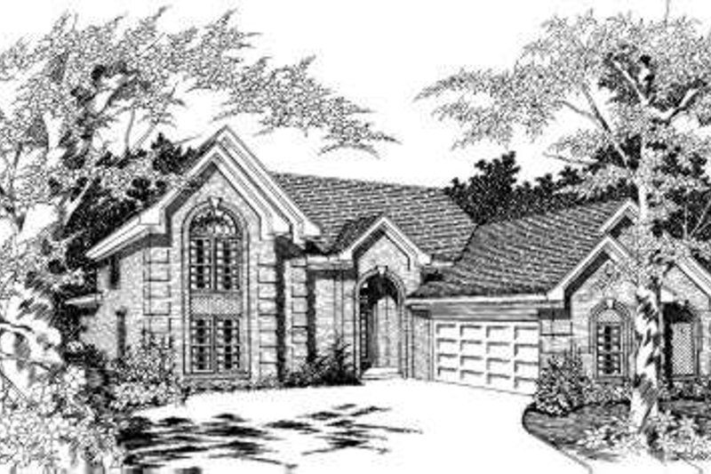 European Style House Plan - 5 Beds 3 Baths 2810 Sq/Ft Plan #329-116 Exterior - Front Elevation