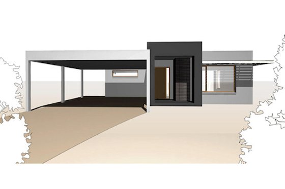 Modern Exterior - Front Elevation Plan #496-9