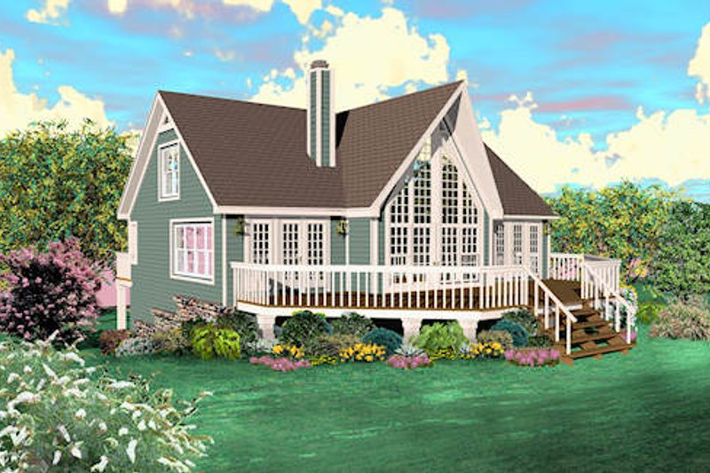 Country Style House Plan - 2 Beds 3 Baths 1772 Sq/Ft Plan #81-13784 Exterior - Front Elevation