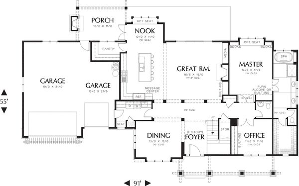 Craftsman Floor Plan - Main Floor Plan Plan #48-249