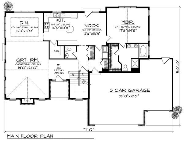 Traditional Floor Plan - Main Floor Plan Plan #70-876