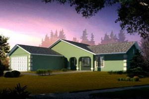 Ranch Exterior - Front Elevation Plan #1-1270