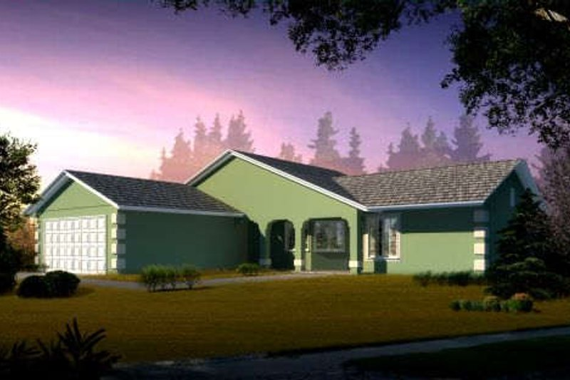 Ranch Style House Plan - 3 Beds 2 Baths 1509 Sq/Ft Plan #1-1270 Exterior - Front Elevation