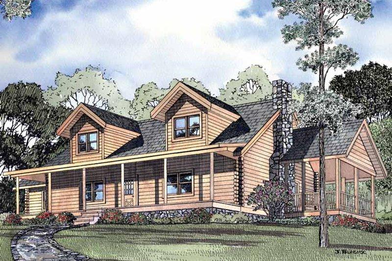 Log Exterior - Front Elevation Plan #17-3083 - Houseplans.com