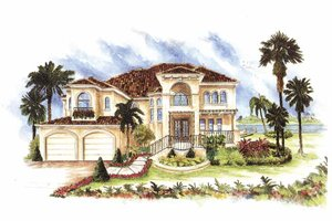 Mediterranean Exterior - Front Elevation Plan #1017-151