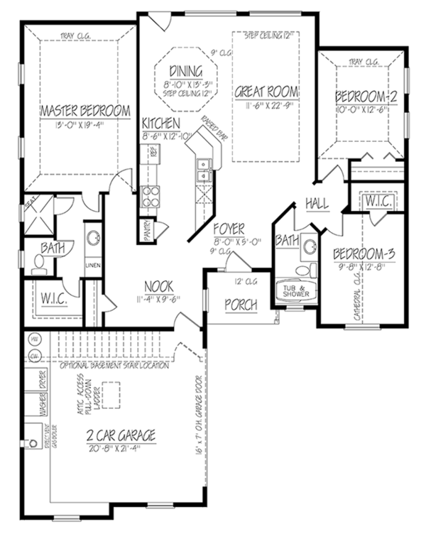 Adobe / Southwestern Floor Plan - Main Floor Plan Plan #1061-19