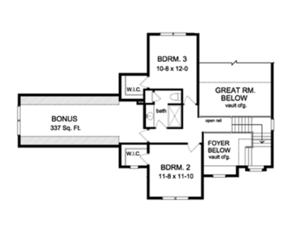 Colonial Floor Plan - Upper Floor Plan Plan #1010-52