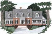 Colonial Style House Plan - 5 Beds 5 Baths 3038 Sq/Ft Plan #129-163 Exterior - Front Elevation