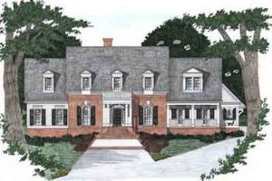 Architectural House Design - Colonial Exterior - Front Elevation Plan #129-163