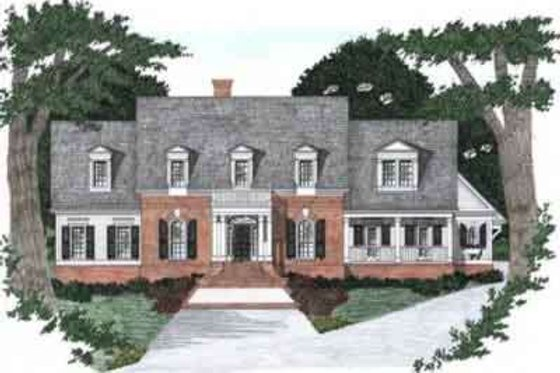 Colonial Exterior - Front Elevation Plan #129-163