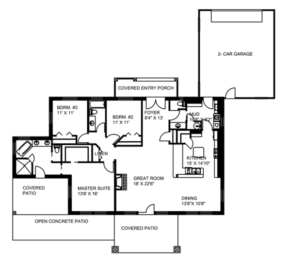 Contemporary Floor Plan - Main Floor Plan Plan #117-849
