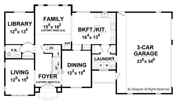 European Floor Plan - Main Floor Plan Plan #20-2247