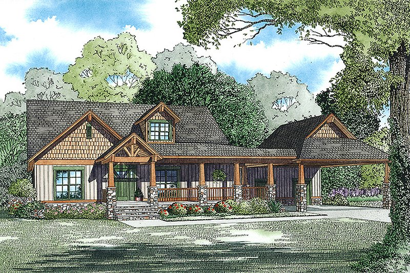 Craftsman Style House Plan - 4 Beds 4 Baths 3399 Sq/Ft Plan #17-2475 Exterior - Front Elevation