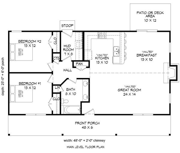Cabin Floor Plan - Main Floor Plan Plan #932-8