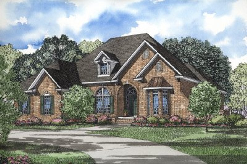 European Style House Plan - 5 Beds 4.5 Baths 4231 Sq/Ft Plan #17-171 Exterior - Front Elevation
