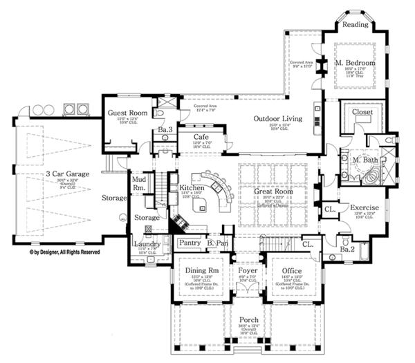 House Plan Design - Mediterranean Floor Plan - Main Floor Plan #1058-86