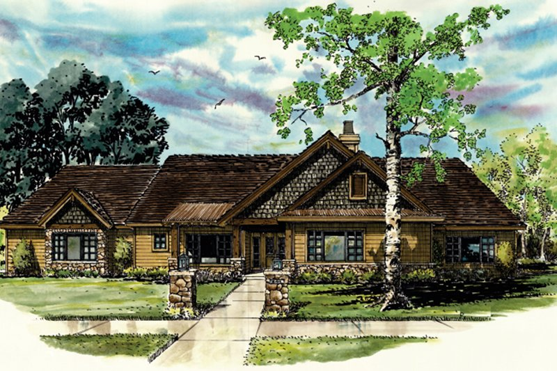 Ranch Exterior - Front Elevation Plan #942-15