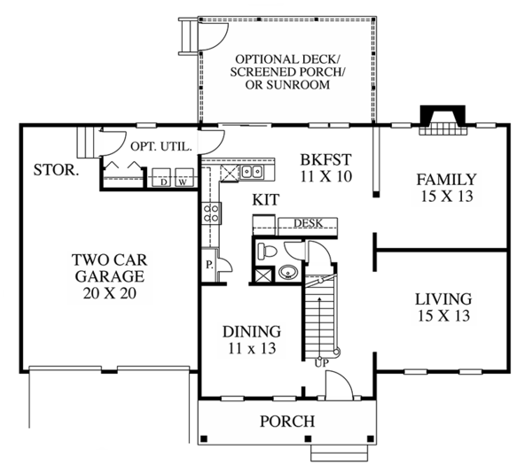 House Plan Design - Colonial Floor Plan - Main Floor Plan #1053-65