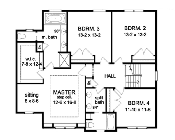 Colonial Floor Plan - Upper Floor Plan Plan #1010-65