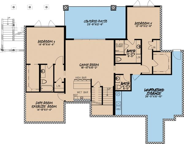 Architectural House Design - Traditional Floor Plan - Lower Floor Plan #923-11