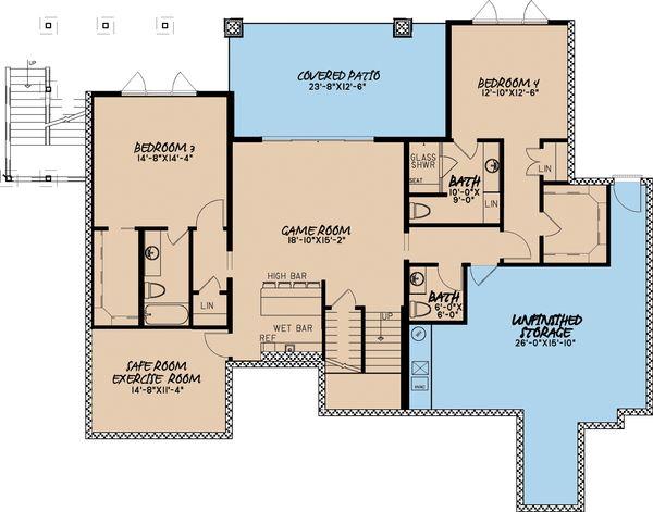 Traditional Floor Plan - Lower Floor Plan #923-11