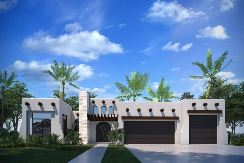 Architectural House Design - Adobe / Southwestern Exterior - Front Elevation Plan #1073-30