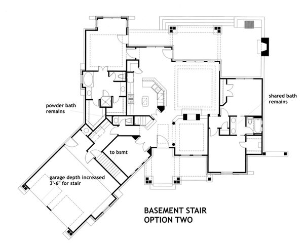 House Plan Design - Optional Lower Level Stair Placement 2