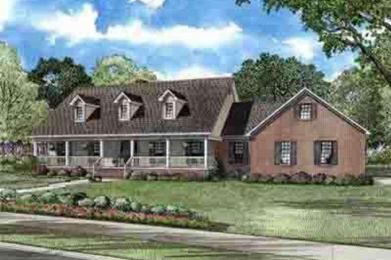 Country Style House Plan - 5 Beds 3.5 Baths 3496 Sq/Ft Plan #17-618 Exterior - Front Elevation