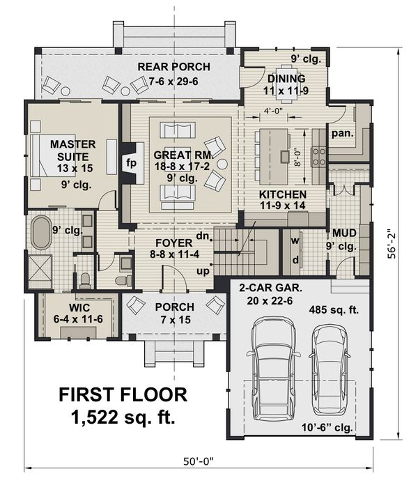 Farmhouse Floor Plan - Main Floor Plan Plan #51-1146