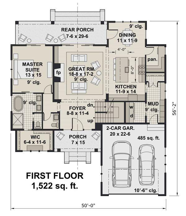 Home Plan - Farmhouse Floor Plan - Main Floor Plan #51-1146