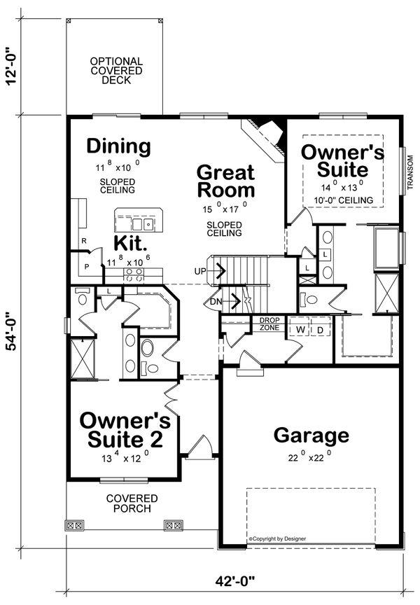 Dream House Plan - Craftsman Floor Plan - Main Floor Plan #20-2254