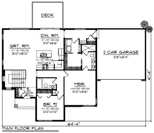 Ranch Floor Plan - Main Floor Plan Plan #70-1452