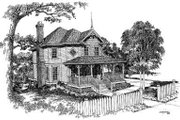 Victorian Style House Plan - 3 Beds 2.5 Baths 1547 Sq/Ft Plan #322-110 Exterior - Front Elevation