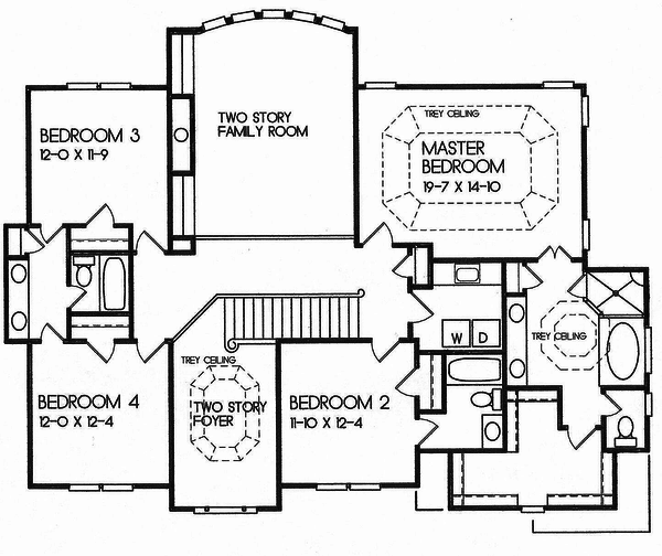 Traditional style house plan, upper level floor plan