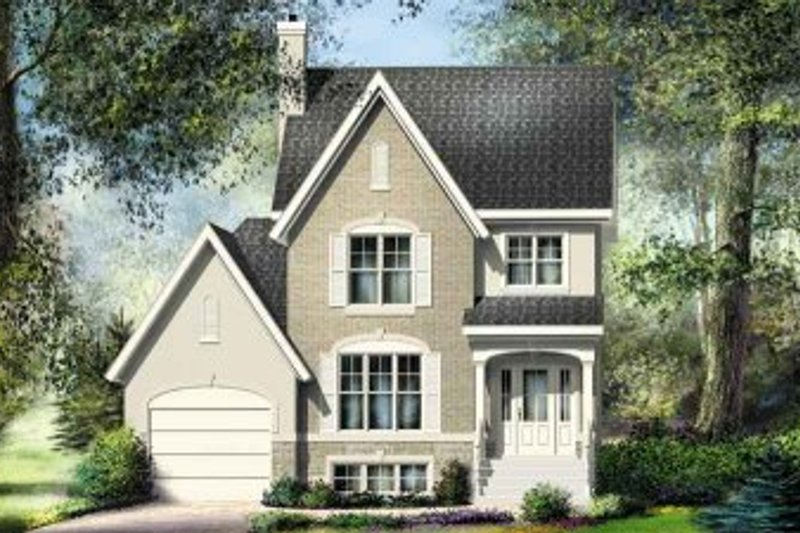 European Style House Plan - 3 Beds 1.5 Baths 1344 Sq/Ft Plan #25-4151 Exterior - Front Elevation