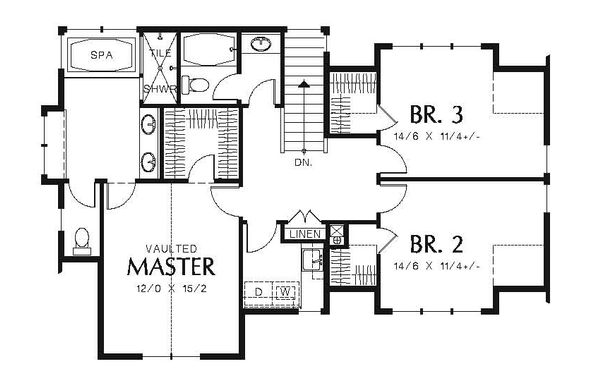 European Floor Plan - Upper Floor Plan Plan #48-557