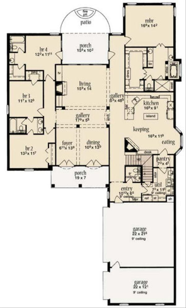 European Floor Plan - Main Floor Plan Plan #36-467