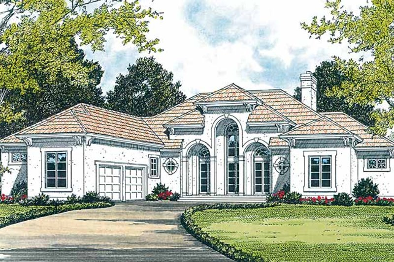 Mediterranean Exterior - Front Elevation Plan #453-313