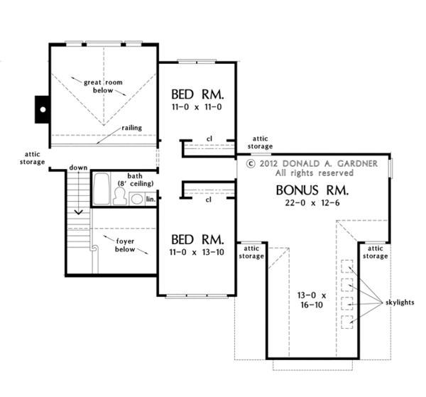 European Floor Plan - Upper Floor Plan Plan #929-954