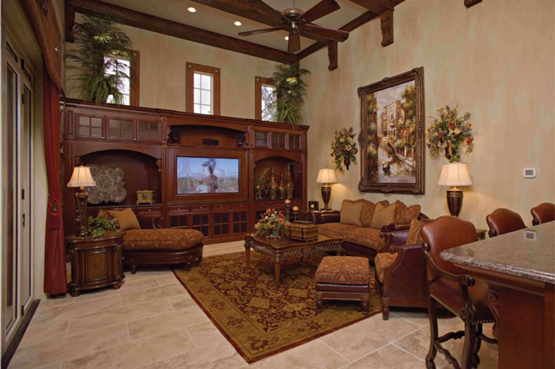 Mediterranean Interior - Family Room Plan #1058-1 - Houseplans.com