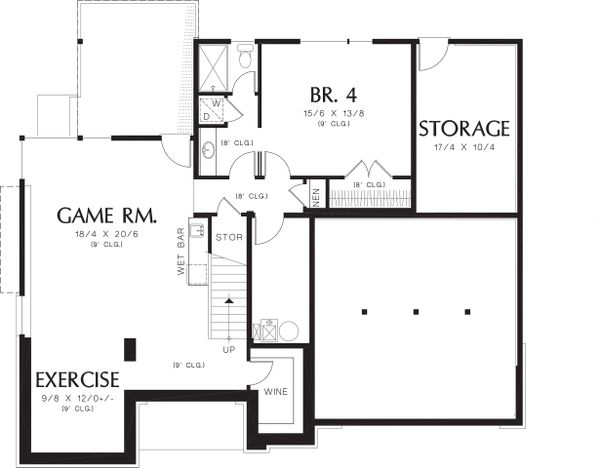 Lower Level Floor plan - 3700 square foot Prairie style home