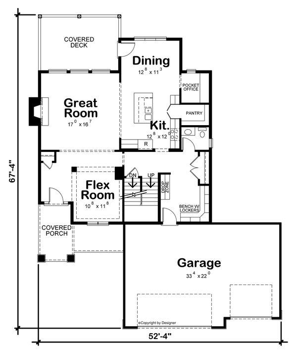 Architectural House Design - Traditional Floor Plan - Main Floor Plan #20-2457