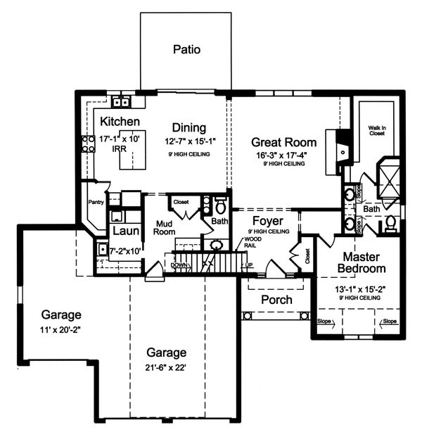 Country Floor Plan - Main Floor Plan Plan #46-880
