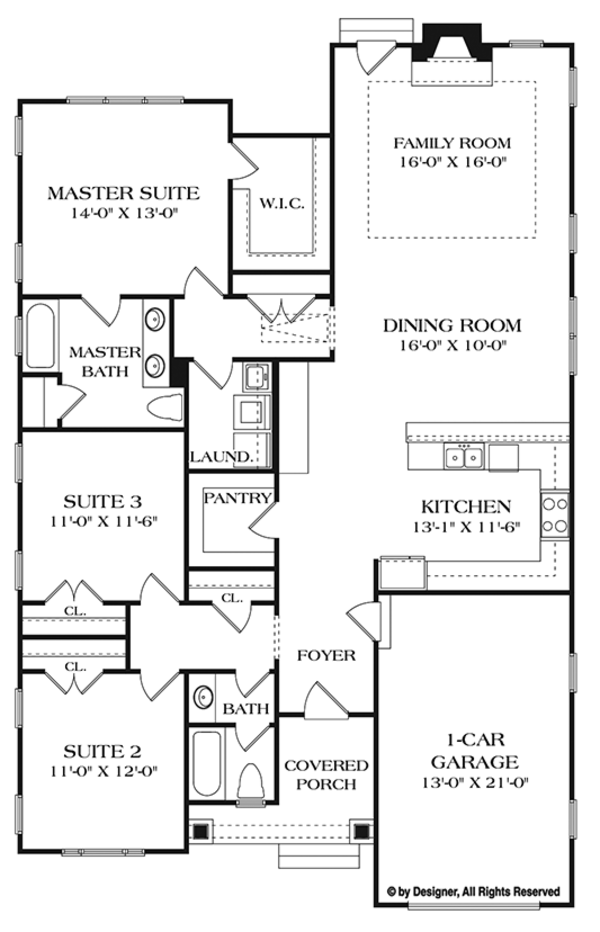 Craftsman Floor Plan - Main Floor Plan Plan #453-619