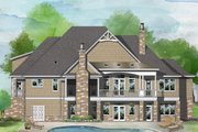 European Style House Plan - 4 Beds 4 Baths 3478 Sq/Ft Plan #929-1037 Exterior - Rear Elevation